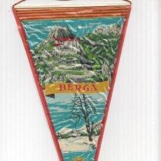 Banderines de colección: BANDERIN: BERGA, BARCELONA - ILUSTRACION DEL MONESTIR DE QUERALT Y ESCUDO DE LA LOCALIDAD. Lote 95974187