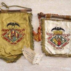 Banderines de colección: 2 ANTIGUOS BANDERINES AÑOS 70 BANDA CORNETAS GAITAS Y TAMBORES VALENCIA OSCUS. Lote 99658899