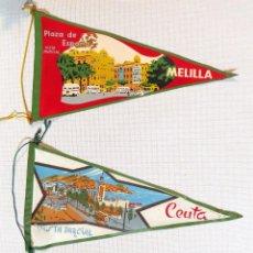 Banderines de colección: DOS BANDERINES ANTIGUOS DE TELA - CEUTA Y MELILLA, 1950-1960. Lote 99844415