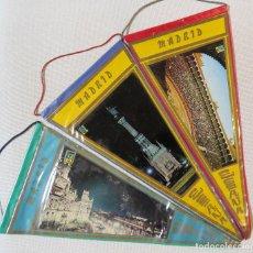 Banderines de colección: 3 BANDERINES PUBLICIDAD TURISTICA MADRID, 1960. Lote 99844599