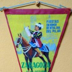 Banderines de colección: BANDERIN ZARAGOZA FIESTAS DEL PILAR 1963. Lote 101220250