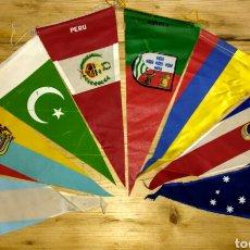 Banderines de colección: OCHO BANDERINES ANTIGUOS EN TELA DE DIFERENTES BANDERAS. Lote 101229178