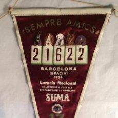 Banderines de colección: BANDERÍN LOTERÍA NACIONAL - SUMA 13 DE GRACIA 1954. Lote 101706291