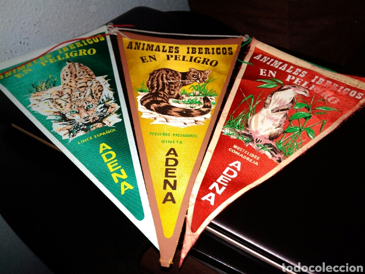 ANIMALES IBERICOS EN PELIGRO BANDERINES ADENA (Coleccionismo - Banderines)