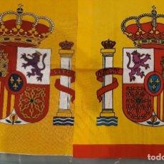 Banderines de colección: 2 ESCUDOS DE ESPAÑA DE 40 CMS. DE ALTO. PARA PONER EN BANDERA DE 150X100. Lote 111337899