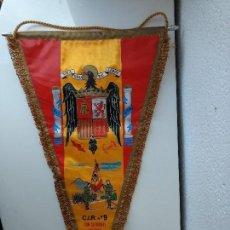 Banderines de colección: ANTIGUO BANDERIN GIGANTE MILITAR FRANQUISTA,FRANCO,ESCUDO AGUILA SAN CLEMENTE DE SASEBAS. Lote 114263515