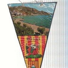 Banderines de colección: BANDERIN: ROSES, GIRONA - IMAGEN DE LA PLAYA DE ROSES Y ESCUDO DE GIRONA. Lote 118429488