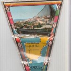 Banderines de colección: BANDERIN: CALAFELL - IMAGEN DE BARCA CON APAREJOS DE PESCA EN PLAYA DE CALAFELL, INCLUYE MAPA EN.... Lote 118430887