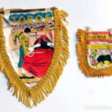 Banderines de colección: DOS BANDERINES DE TOROS, TAMAÑO DEL GRANDE 19 CM ALTO, EL PEQUEÑO 9 CM. Lote 120671783