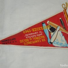 Banderines de colección: ANTIGUO BANDERÍN - XIX CAMPEONATO NACIONAL DE BOLOS - PEÑA BOLÍSTICA LA CARMENCITA 1960 - ENVÍO 24H. Lote 122475763