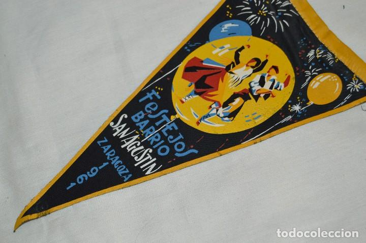Banderines de colección: VINTAGE - ANTIGUO BANDERÍN - FESTEJOS BARRIO SAN AGUSTÍN ZARAGOZA 1961 - ENVÍO 24H - Foto 3 - 122476031