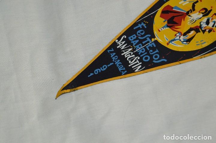 Banderines de colección: VINTAGE - ANTIGUO BANDERÍN - FESTEJOS BARRIO SAN AGUSTÍN ZARAGOZA 1961 - ENVÍO 24H - Foto 4 - 122476031