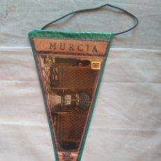 Banderines de colección: BANDERÍN RECUERDO DE MURCIA ESPAÑA PLASTIFICADO 29 CM AÑOS 60. Lote 122776494
