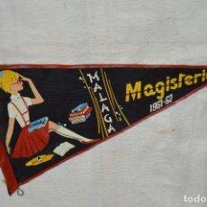 Banderines de colección: ANTIGUO BANDERIN - MALAGA 1961, 62 - MAGISTERIO - HAZ OFERTA - ENVÍO 24H. Lote 128100083