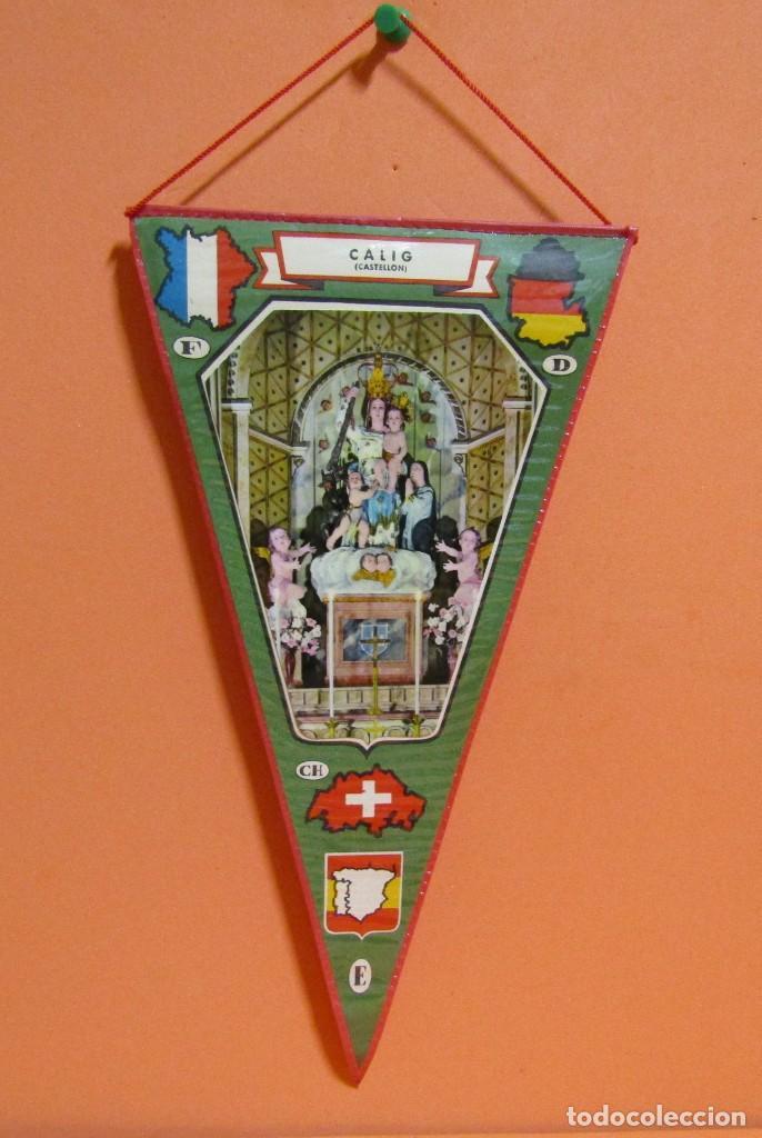 BANDERIN CALIG CASTELLON PLASTIFICADO MEDIDAS 15,5 X 28,5 CMS APROX (Coleccionismo - Banderines)