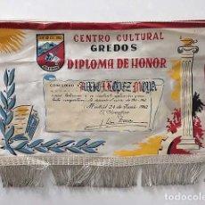 Banderines de colección: BANDERÍN. CENTRO CULTURAL GREDOS : DIPLOMA DE HONOR. 1962. MANUSCRITO Y FIRMA.. Lote 136697694