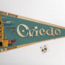 Banderines de colección: ANTIGUO BANDERÍN DE TELA DE LA CIUDAD DE OVIEDO. Lote 143182078