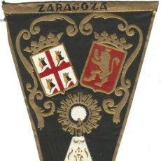 Banderines de colección: ANTIGUO BANDERIN DE ZARAGOZA EN TELA PINTADO AÑOS 50 60. Lote 143840470