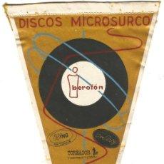Banderines de colección: DISCOS MICROSURCO IBEROFON TOREADOR BEL - AIR WING RECORDS ANTIGUO BANDERIN AÑOS 50. Lote 144050618