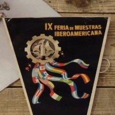 Banderines de colección: SEVILLA, 1969, BANDERIN IX FERIA DE MUESTRAS IBEROAMERICANA. Lote 144328318