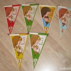 Banderines de colección: 6 BANDERINES DE DIA DE LA MADRE. 8 DE DICIEMBRE. AÑOS 60. 24X13 CM. 2 REPETIDOS.. Lote 145956650