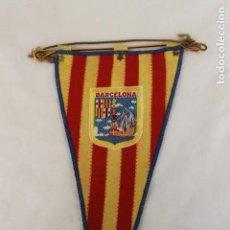 Banderines de colección: BANDERIN CIUDAD DE BARCELONA, CON ESCUDO MONUMENTO COLON Y CARABELA. Lote 148678406
