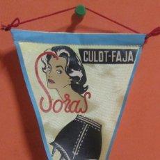 Banderines de colección: BANDERIN PUBLICITARIO SORAS CULOT - FAJA AÑOS 50 / 60 MEDIDAS 12 X 21 CMS. APROX.. Lote 148997446