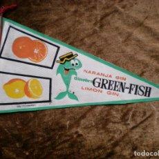Banderines de colección: BANDERÍN PUBLICIDAD GINEBRA GREEN-FISH. Lote 149643270