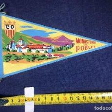 Banderines de colección: ANTIGUO BANDERÍN DE TELA MONASTERIO DE POBLET TARRAGONA 18 CM. Lote 152923706