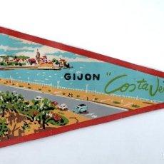 Banderines de colección: BANDERIN EN TELA GIJON COSTA VERDE. Lote 159775682