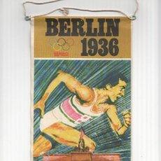 Banderines de colección: BANDERIN: BERLIN 1936 BIMBO - FICHA DE JESSE OWENS EN TRASERA.. Lote 119423066