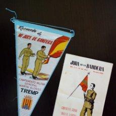 Banderines de colección: BANDERIN + PROGRAMA DE ACTOS - JURA BANDERA C.I.E. DE LA I.P.S. - CAMPAMENTO MARTIN ALONSO 14-7-1965. Lote 170924035