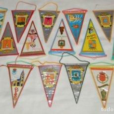 Banderines de colección: VINTAGE - LOTE 14 PEQUEÑOS BANDERINES - PROVINCIAS, MUNICIPIOS Y LUGARES DE ESPAÑA - AÑOS 60. Lote 171171090