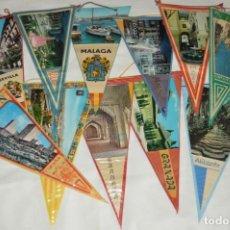 Banderines de colección: VINTAGE - LOTE DE 11 BANDERINES - PROVINCIAS, MUNICIPIOS Y LUGARES DE ESPAÑA - AÑOS 60 - SOUVENIR. Lote 171171283