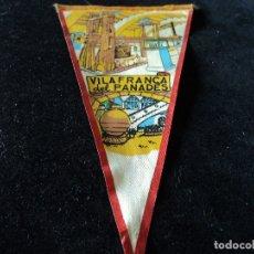 Banderines de colección: ANTIGUO BANDERIN TELA VILLAFRANACA DEL PANADES 26 X 13 CM. Lote 174492254