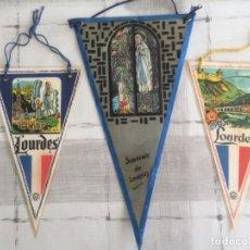 Banderines de colección: LOTE 3 BANDERINES DEL SANTUARIO DE LOURDES - AÑOS 60'S. Lote 175087264