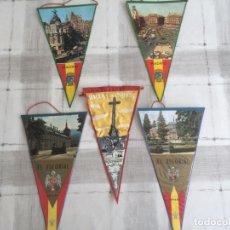 Banderines de colección: LOTE DE 5 BANDERINES - MADRID, EL ESCORIAL Y VALLE DE LOS CAIDOS - AÑOS 60'S. Lote 175087442