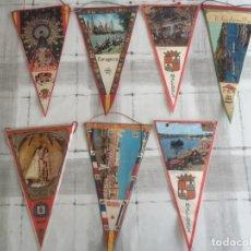 Banderines de colección: LOTE DE 7 BANDERINES DE VARIAS CIUDADES ESPAÑOLAS - AÑOS 60'S. Lote 175087557