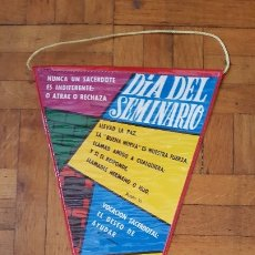 Banderines de colección: BANDERÍN DIA DEL SEMINARIO PLASTIFICADO AÑOS 50 - 60. Lote 175951263
