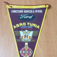 Banderines de colección: BANDERIN AGRO TURIA J. PEREZ DUQUE - CONCESIONARIO AGRICOLA OFICIAL FORD EBRO. Lote 177519338