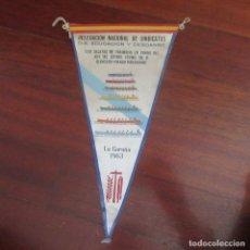Banderines de colección: ANTIGUO BANDERIN FRANQUISTA TRAINERAS LA CORUÑA. Lote 178776756