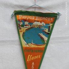 Banderines de colección: BANDERIN ANTIGUO LLANES, ASTURIAS, PLAYAS BLANCAS, COSTA VERDE AÑOS 60. Lote 187169618