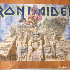 Fanions de collection: BANDERA IRON MAIDEN 150X90 CMS EDDIE THE HEAD POWERSLAVE. BRUCE DICKINSON. HEAVY METAL. Lote 190160888