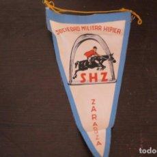 Banderines de colección: BANNER DE TELA AÑOS 60 PUBLICIDAD SOCIEDAD HIPICA MILITAR ZARAGOZA. Lote 191312308