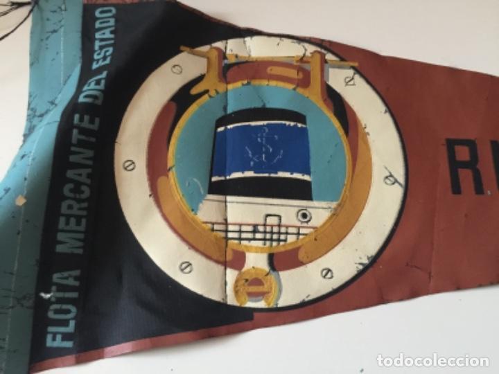 Banderines de colección: BANDERIN GRANDE , FLOTA MERCANTE DEL ESTADO ,BARCO RIO QUINTO , AÑOS 60 - Foto 2 - 191902517