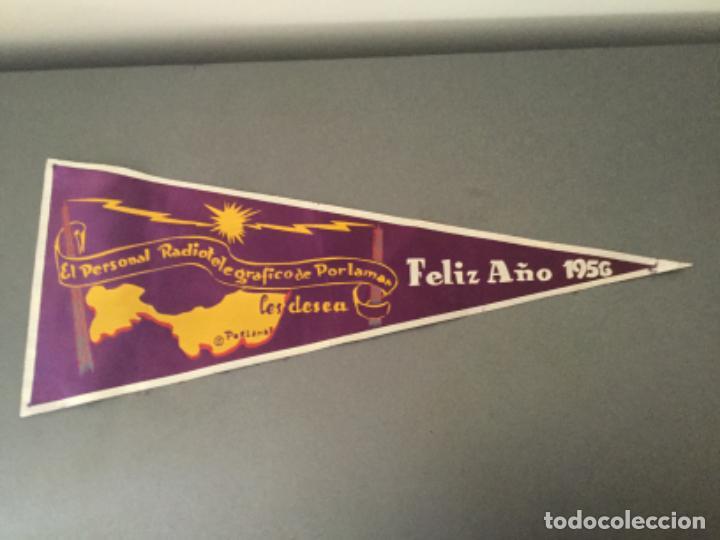 BANDERIN RADIO RADIOTELEGRAFICO DE PORLAMAR LES DESEA FELIZ 1956 COLOMBIA? (Coleccionismo - Banderines)