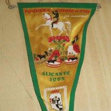 Banderines de colección: BANDERÍN FOGUERA CIUDAD DE ASIS ¡LA INVENCIBLE¡ ALICANTE 1963 MIDE 29/14 CM HOGUERAS. Lote 194732792
