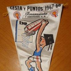 Banderines de colección: VALLADOLID, BANDERÍN PROGRAMA CESTA Y PUNTOS, TVE, SAVA. MUY RARO. 1967.. Lote 195046298