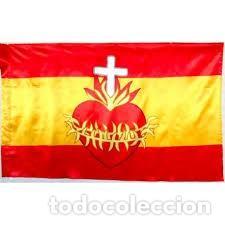 BANDERA ESPAÑA SAGRADO CORAZÓN (Coleccionismo - Banderines)