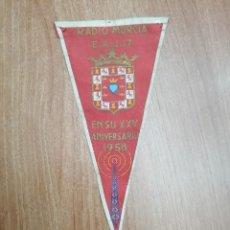 Banderines de colección: BANDERIN RADIO MURCIA - E. A. J. 17 EN SU -XXV- ANIVERSARIO 1958 . Lote 195403041